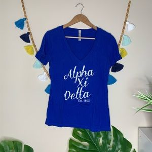 Alpha Xi Delta Royal Blue V Neck Top